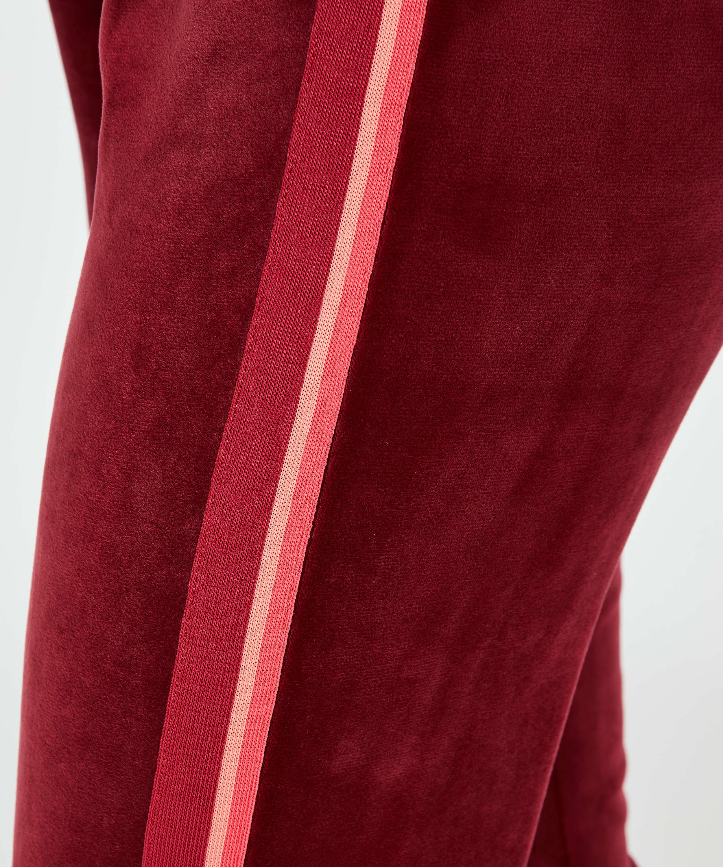 Pantalón para correr terciopelo raya, Rojo, main