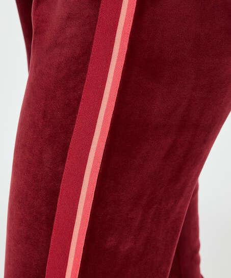 Pantalón para correr terciopelo raya, Rojo