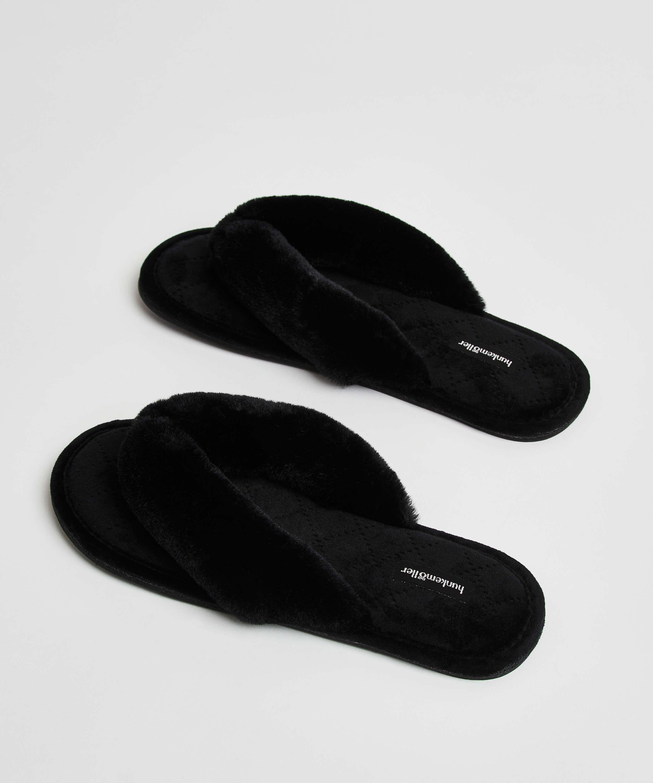 Pantuflas de terciopelo y piel sintética, Negro, main
