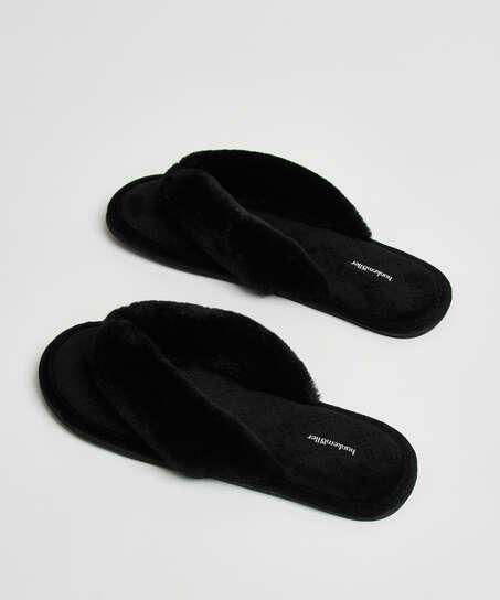 Pantuflas de terciopelo y piel sintética, Negro