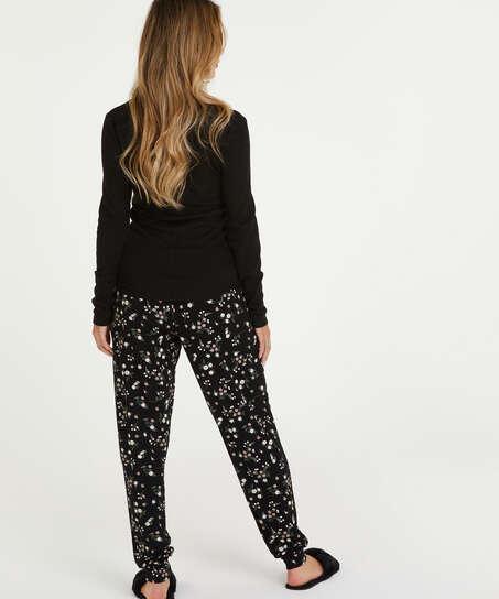 Top de pijama de manga larga, Negro