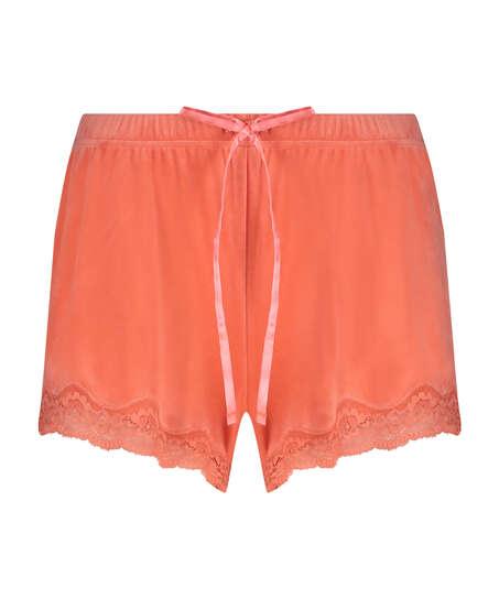 Pantalón corto de terciopelo y encaje, Naranja