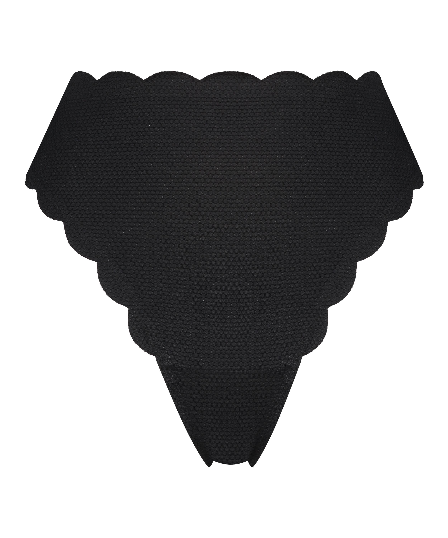 Braguita de bikini de corte alto Scallop Glam, Negro, main