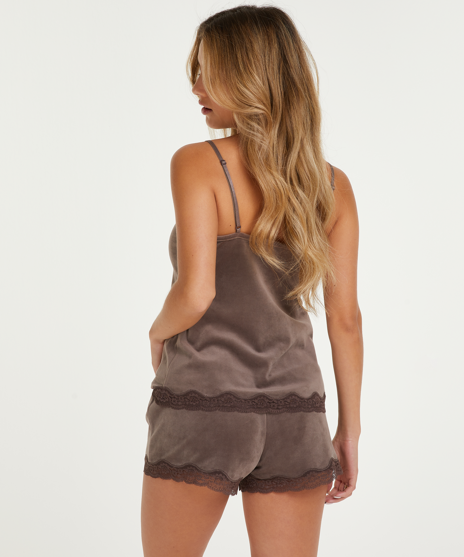 Pantalón corto de terciopelo y encaje, marrón, main