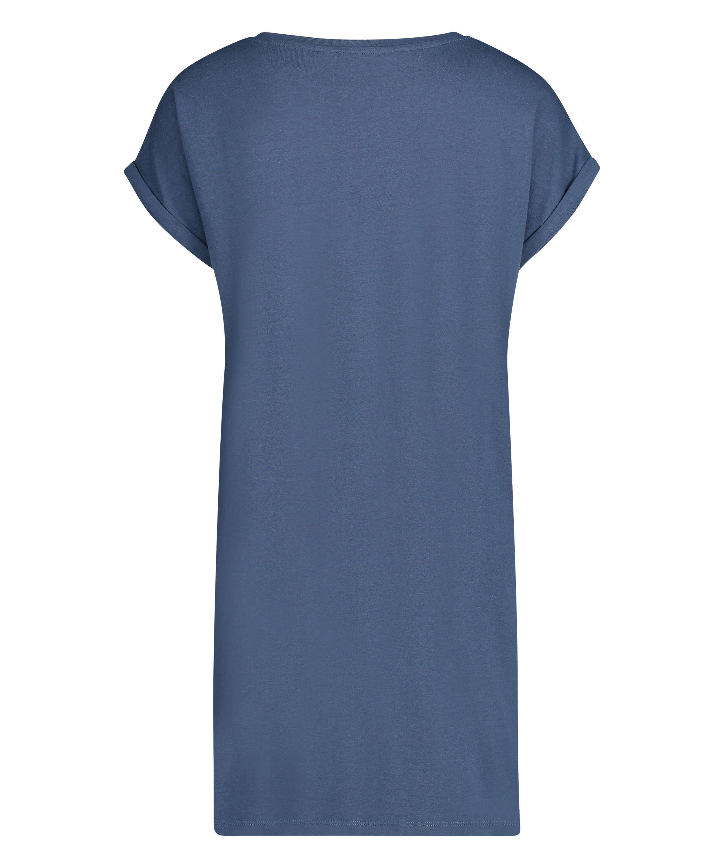 Camisón de cuello redondo, Azul, main