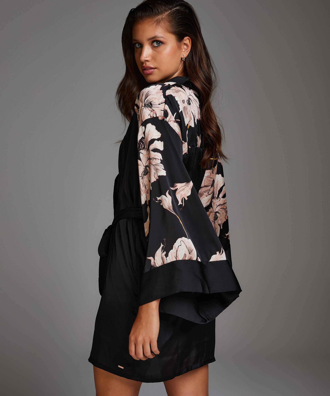 Kimono Satin Bloom, Negro, main