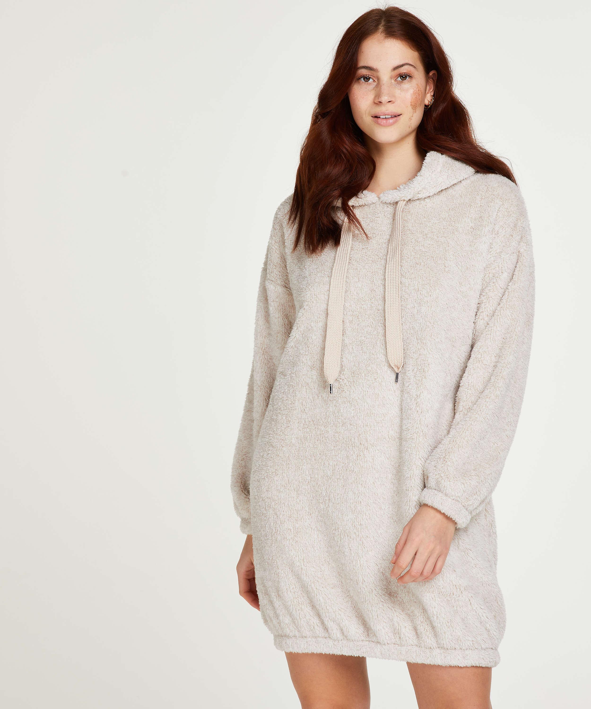 Vestido de polar acurrucado, Beige, main