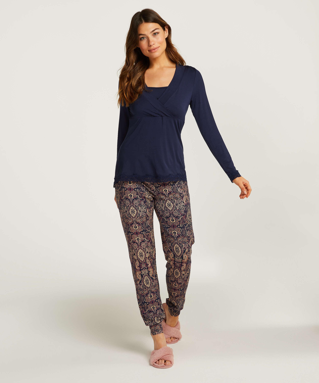 Conjunto de pijama de lactancia , Azul, main