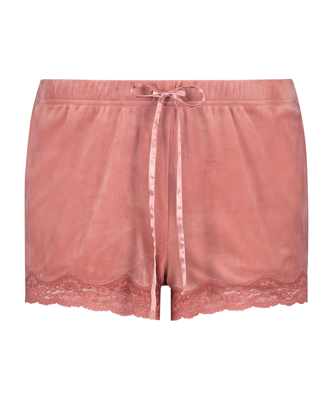 Pantalón corto de terciopelo y encaje, Rosa, main