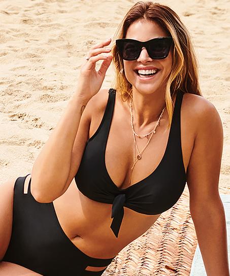 Top de bikini no preformado con aros Sunset Dreams, Negro