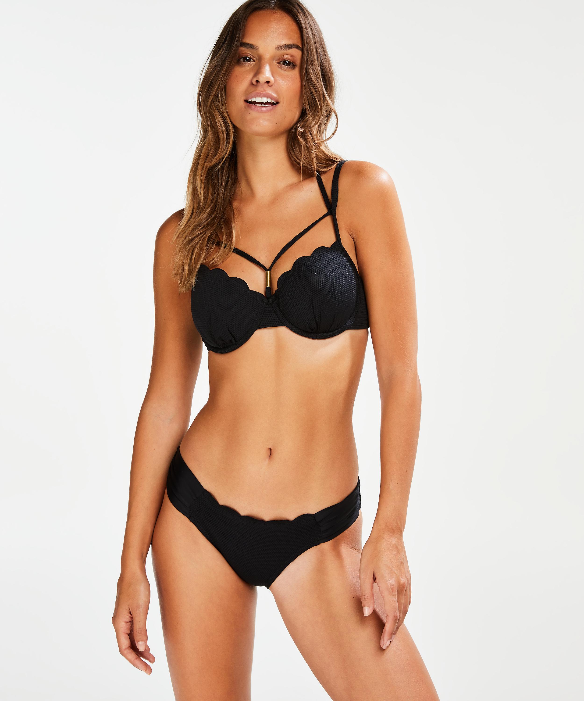 Top de bikini de aros preformado Scallop Glam, Negro, main