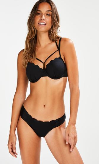 Top de bikini de aros preformado Scallop Glam, Negro
