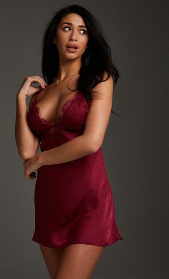 Vestido combinación satinado Holly, Rojo