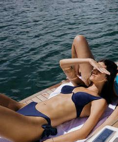 Top de bikini con aros no preformado Harper, Azul