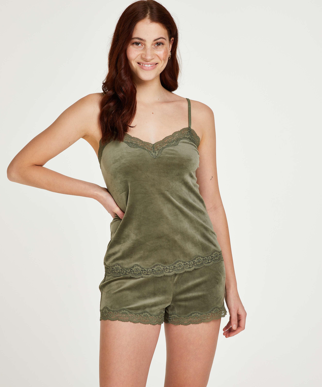 Pantalón corto de terciopelo y encaje, Verde, main