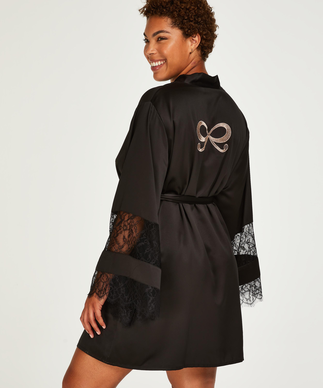 Kimono de satén y encaje, Negro, main