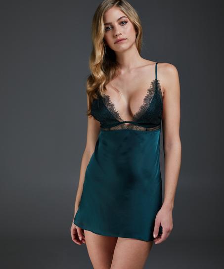 Vestido combinación satinado Holly, Verde