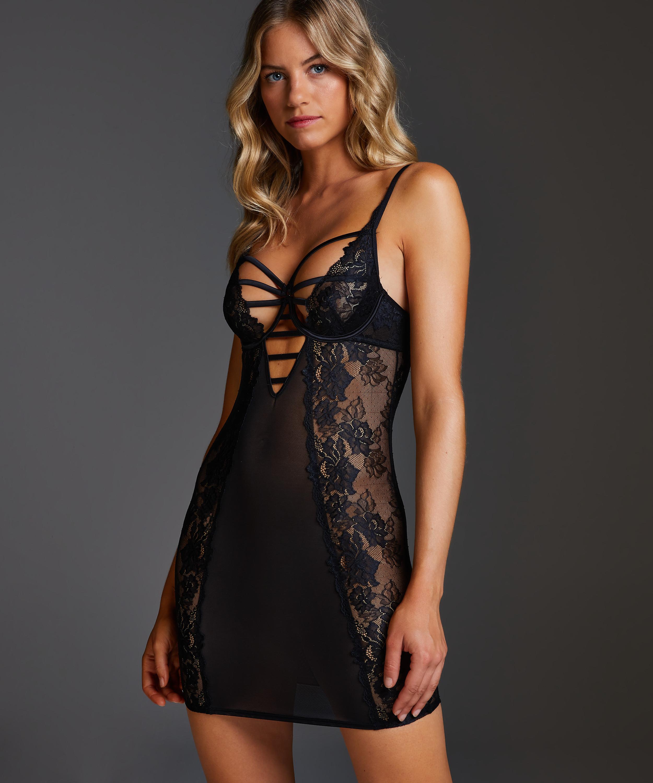 Vestido lencero con aros preformado Sosha, Negro, main