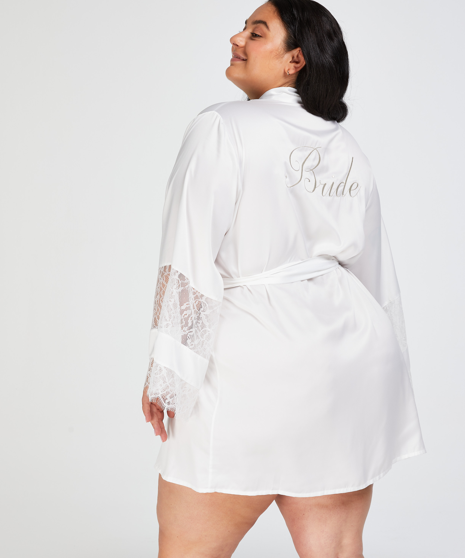 Kimono de satén Bridal, Blanco, main
