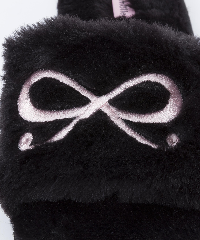 Zapatillas con lazo superior de polipiel, Negro, main