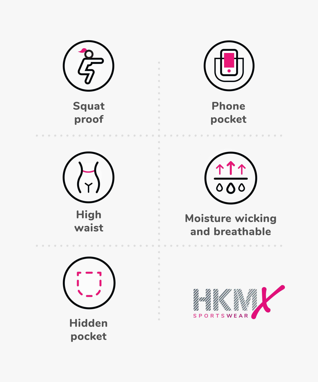 Capri de rejilla y cintura alta de nivel 2 de HKMX, Negro, main