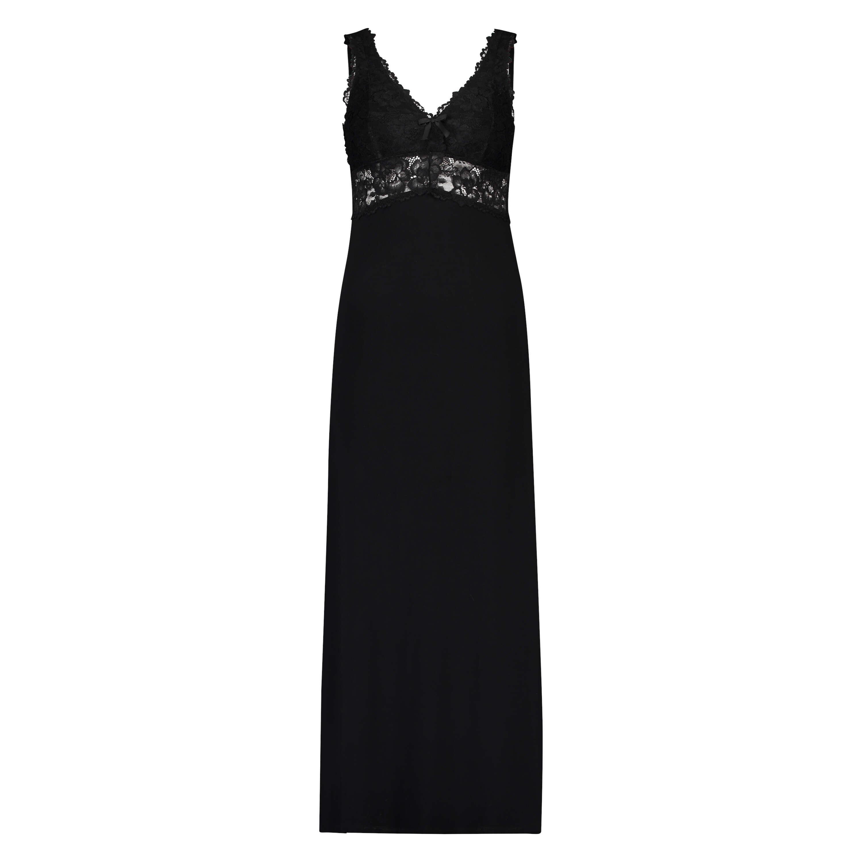 Vestido combinación largo Modal Lace, Negro, main