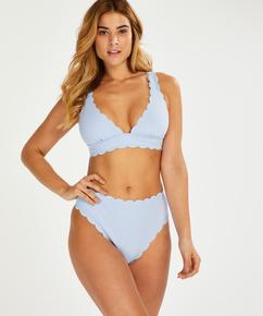 Braguita de bikini de tiro alto Scallop, Azul