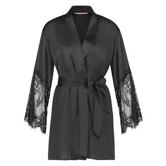 Kimono Lace Satin, Negro
