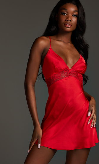 Vestido lencero Nina, Rojo