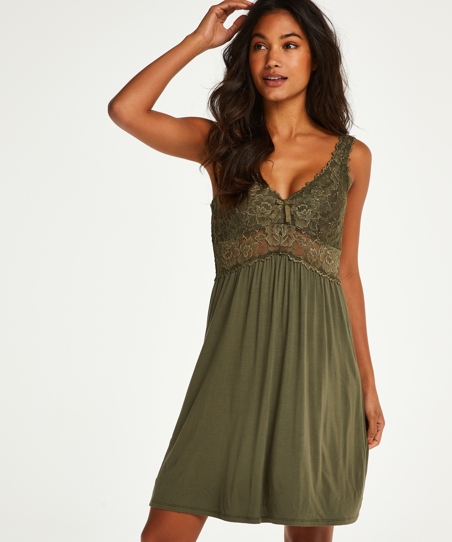 Vestido lencero Nora Lace, Verde, main