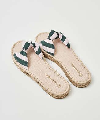 Sandalias nudo estampado, Verde