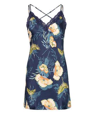 Vestido lencero Lotus Bird, Azul
