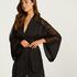 Kimono de satén y encaje, Negro