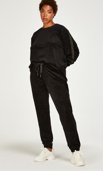 Pantalón para correr de terciopelo Lurex, Negro