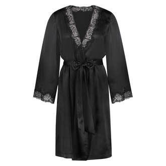 Kimono de seda y encaje trim, Negro