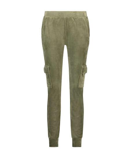 Pantalón para correr de terciopelo Cargo, Verde