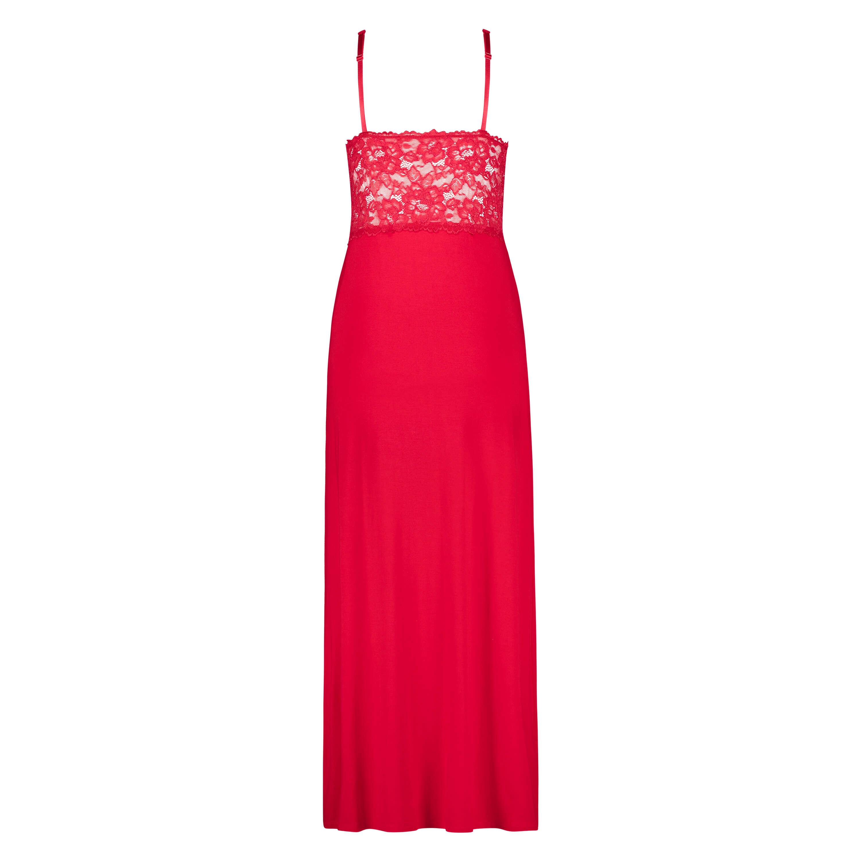 Vestido combinación largo Modal Lace, Rojo, main