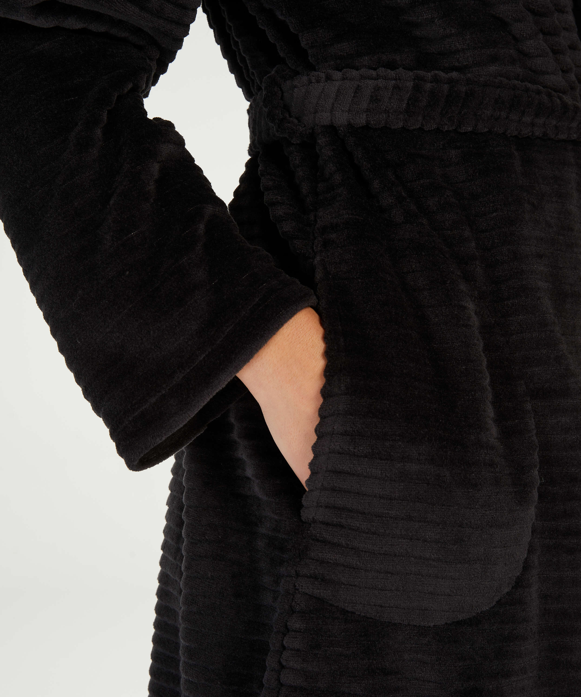 Albornoz corto de forro polar, Negro, main