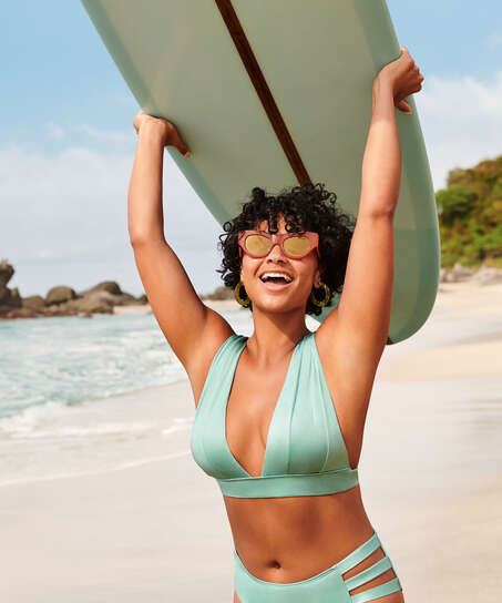 Top de bikini triangular SoCal, Verde
