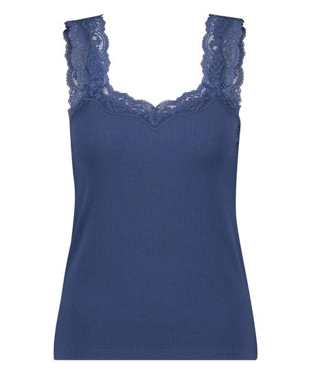 Camiseta sin mangas de punto y encaje, Azul