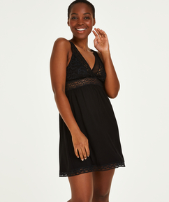 Vestido lencero Jersey Grafic Lace, Negro