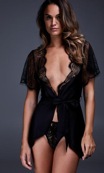 Kimono de satén Coco, Negro