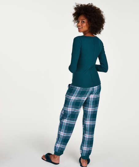 Top de pijama de manga larga, Azul