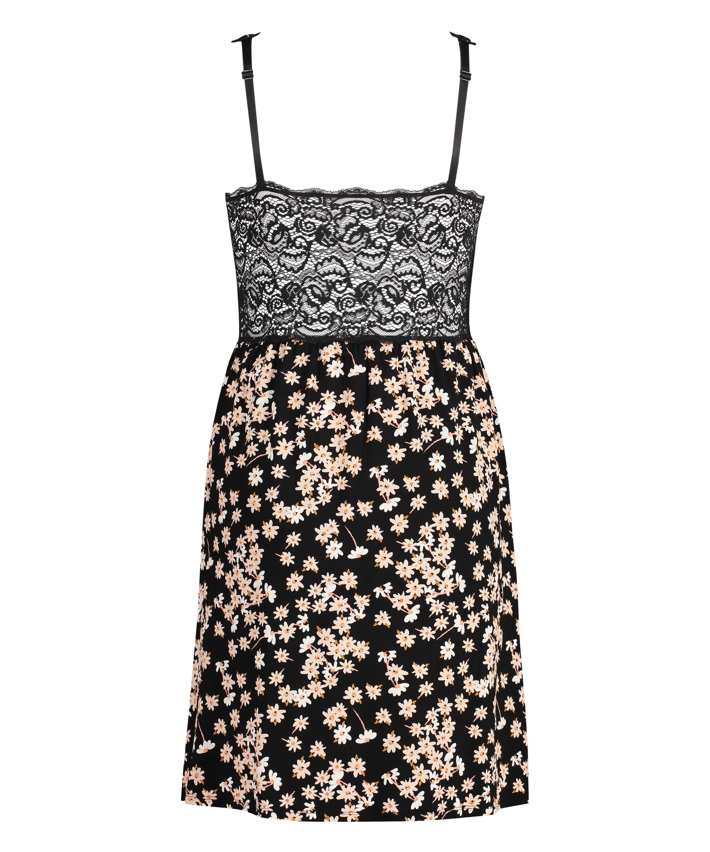 Vestido combinación con encaje modal Daisy, Negro, main