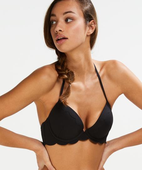 Top de bikini preformado con efecto realce Scallop Copa A - E, Negro