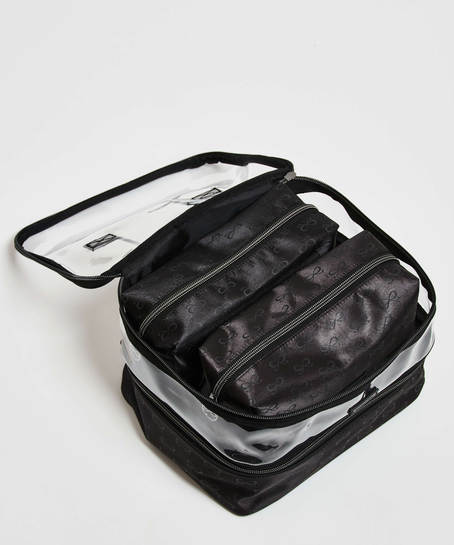 Lote de 3 bolsos de maquillaje, Negro, main