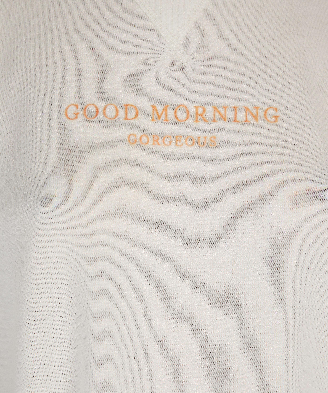Top de pijama de mangas cortas Brushed Jersey, Blanco, main