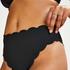 Braguita de bikini de corte alto Scallop Glam, Negro