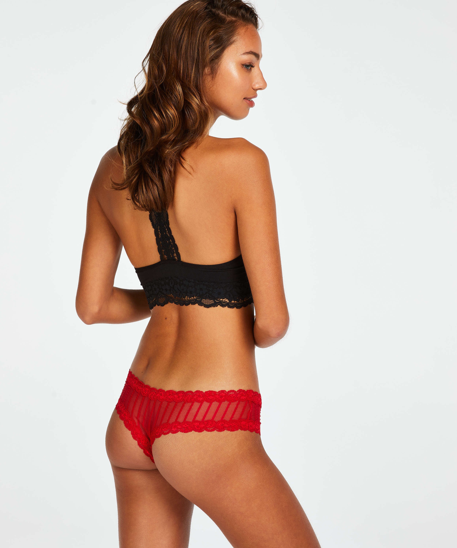 Brasileña en forma de V burn-out mesh, Rojo, main