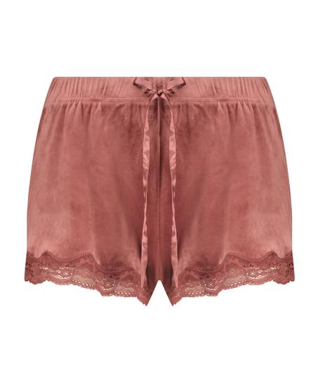 Pantalón corto de terciopelo y encaje, Rosa
